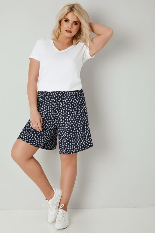 Navy & White Mini Floral Print Jersey Pull On Shorts
