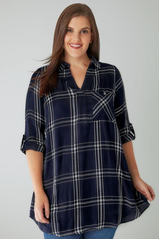 Blouses & Shirts Navy & White Oversized Checked Shirt With V-Neck 130161