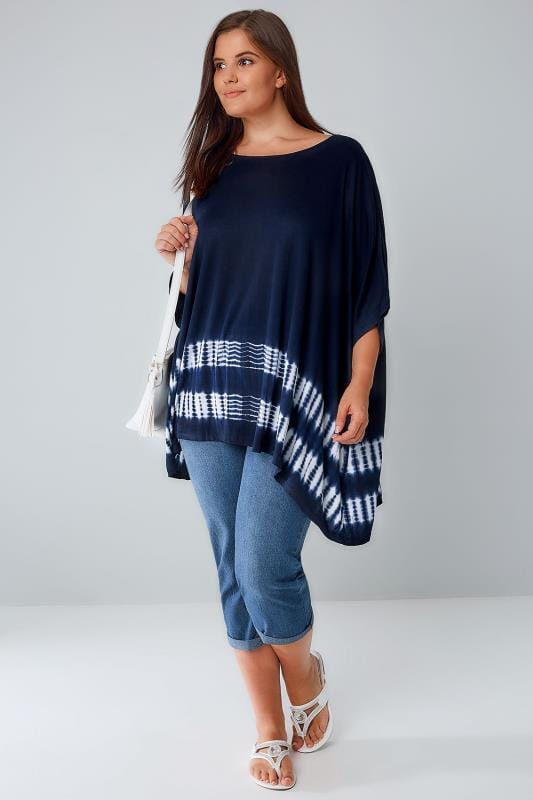 Navy Amp White Oversized Top With Tie Dye Print Hem Plus