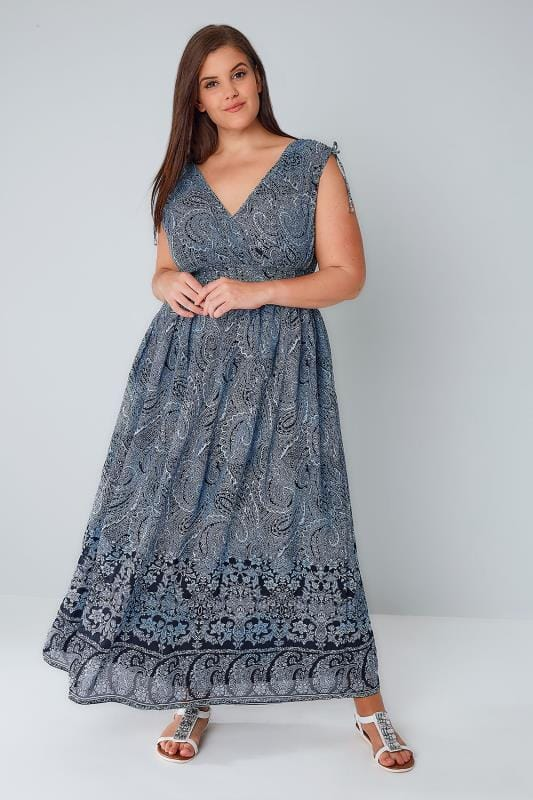 Maxikleider Navy & White Paisley Print Sleeveless Maxi Dress 136098