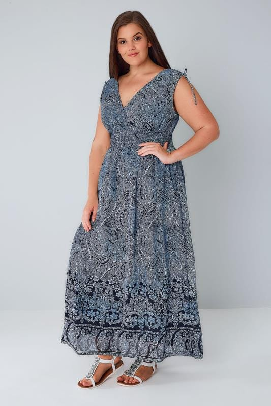 Navy & White Paisley Print Sleeveless Maxi Dress