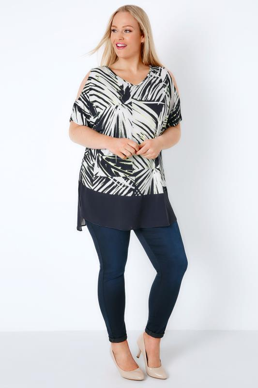 Navy & White Palm Leaf Cold Shoulder Top With Sheer Panel Hem