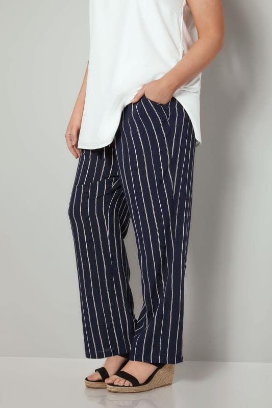 Plus Size Wide Leg & Palazzo Trousers Navy & White Pinstripe Trousers