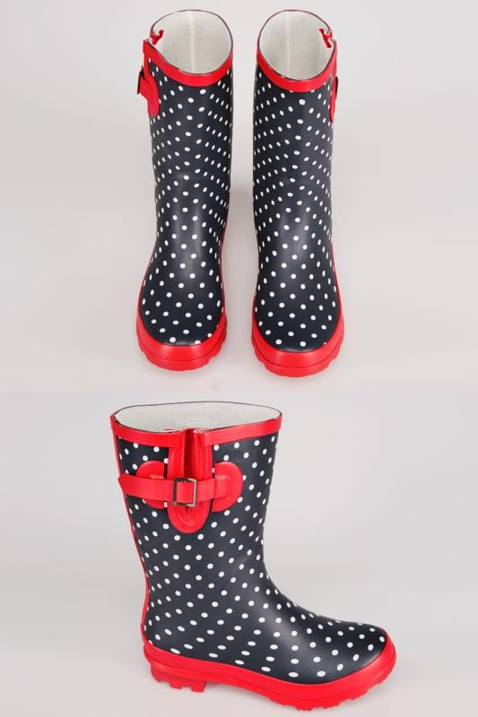 Wide Fit Wellies Navy & White Polka Dot Wellington Boots With Red Trims In TRUE EEE Fit