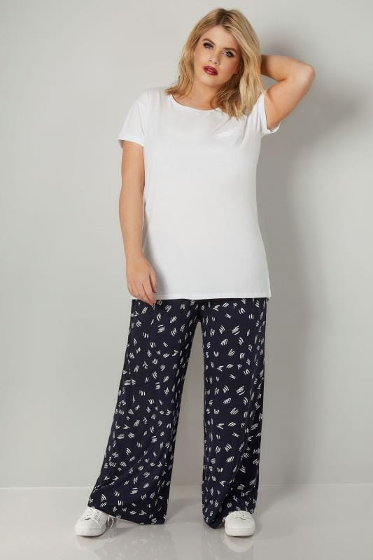 Navy & White Printed Wide Leg Trousers