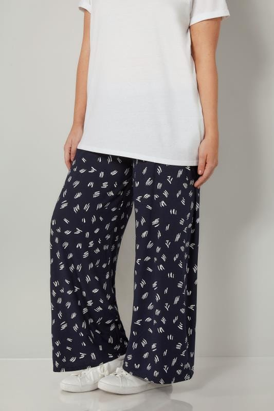 Plus Size Wide Leg & Palazzo Trousers Navy & White Printed Wide Leg Trousers