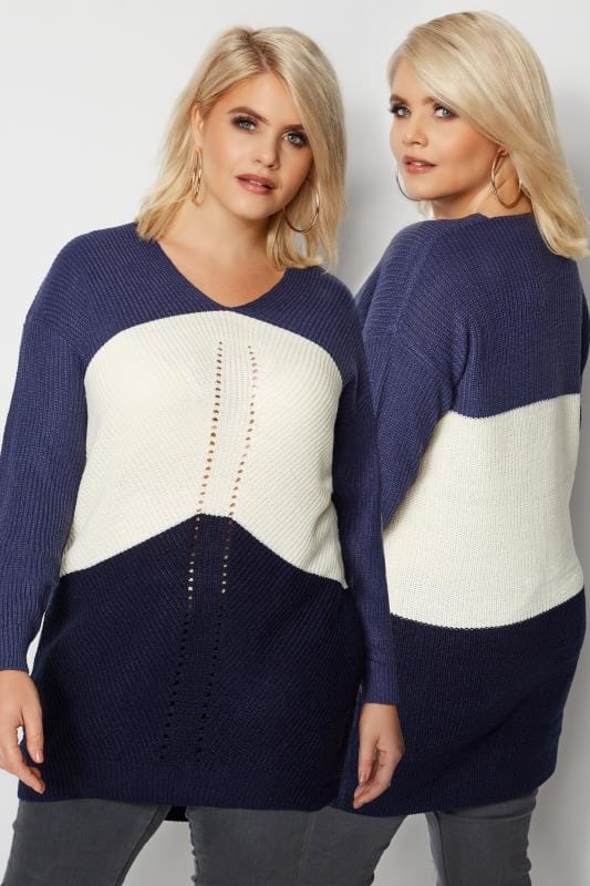 Plus Size Jumpers Navy, White & Purple Chevron Knit Colour Block Jumper