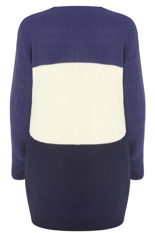 Navy, White & Purple Chevron Knit Colour Block Jumper
