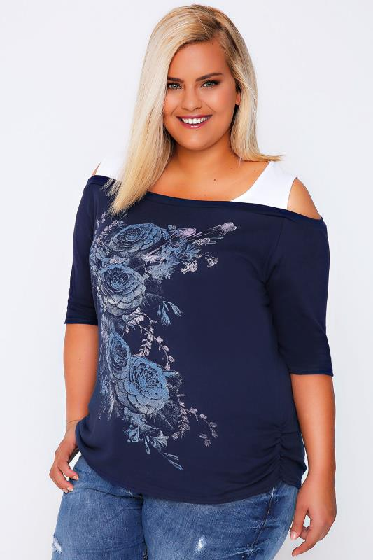 Navy & White Rose Print 2 In 1 Cotton Bardot Top