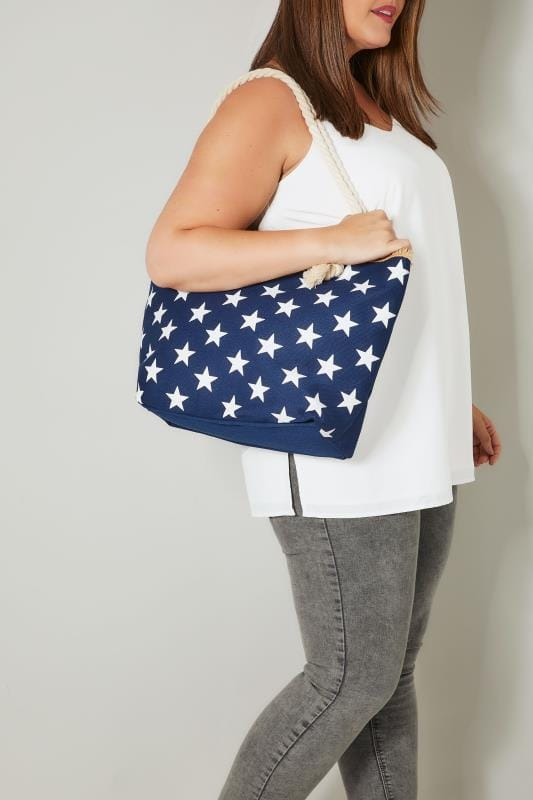 Plus Size Beach Bags Navy & White Star Print Beach Bag With Rope Handles