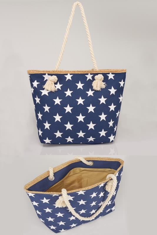 Beach Bags Navy & White Star Print Beach Bag With Rope Handles 152243