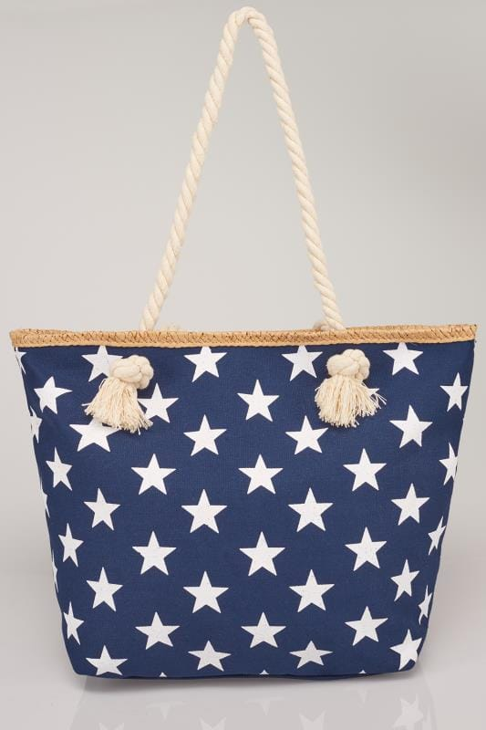 Navy  White Star Print Beach Bag With Rope Handles-6977