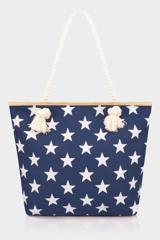 Navy & White Star Print Beach Bag With Rope Handles