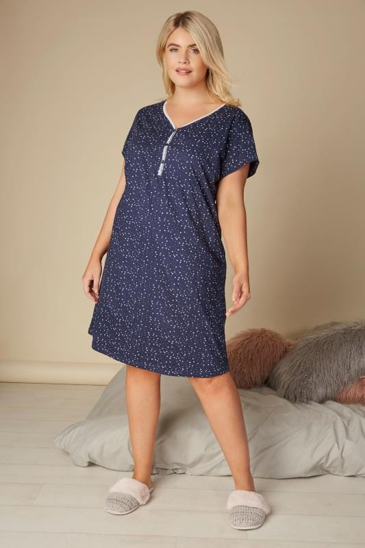 Navy & White Star Print Nightdress