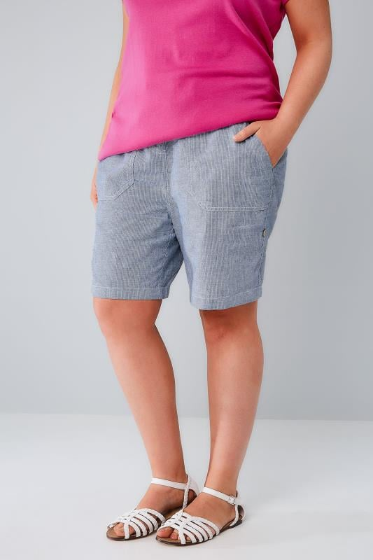 Linen Mix Shorts Navy & White Stripe Cotton Linen Mix Pull On Roll Up Shorts 144011