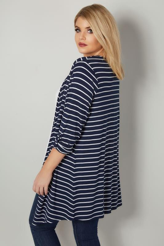 Navy & White Stripe Edge To Edge Waterfall Jersey Cardigan