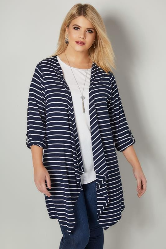 Plus Size Jersey Cardigans & Shrugs Navy & White Stripe Edge To Edge Waterfall Jersey Cardigan
