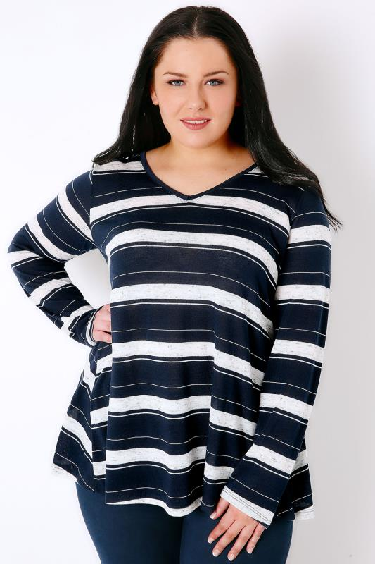 Navy & White Stripe Long Sleeve Swing Top