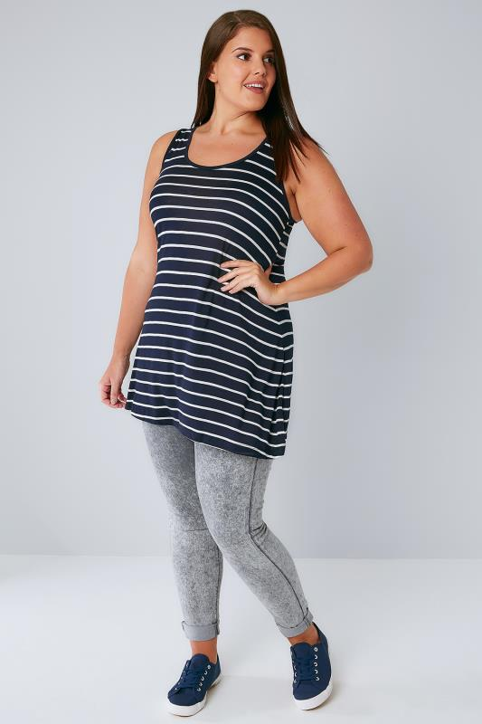 Navy & White Stripe Longline Sleeveless Top