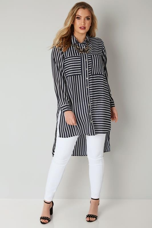 Navy & White Stripe Shirt With Dipped Hem
