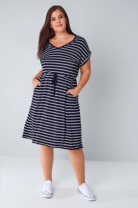 Midi Dresses Navy & White Stripe T-Shirt Dress With Pockets & Elasticated Waistband 136074