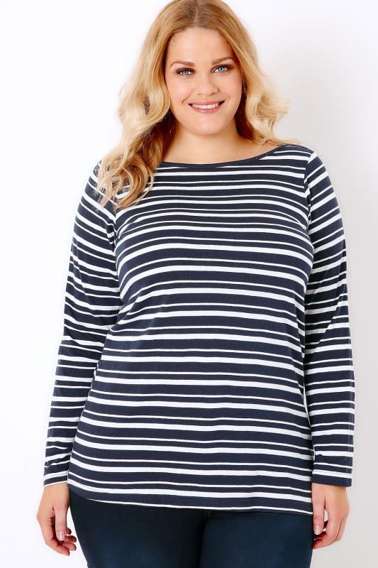 Navy & White Striped Boat Neck Top With Long Sleeves