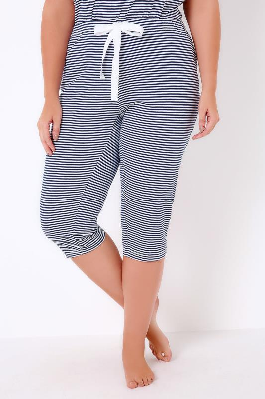 Navy & White Striped Jersey Cropped Pyjama Bottoms
