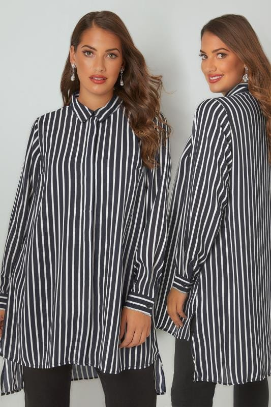 YOURS LONDON Navy & White Striped Longline Shirt With Step Hem