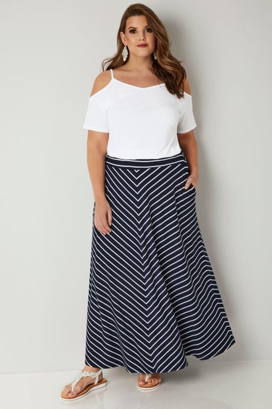 Navy & White Striped Maxi Skirt