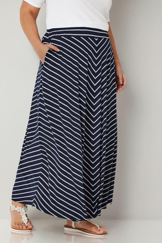 Plus Size Maxi Skirts Navy & White Striped Maxi Skirt