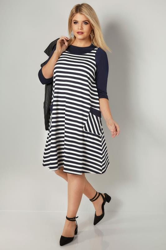 Navy & White Striped Tunic Dress With Pockets