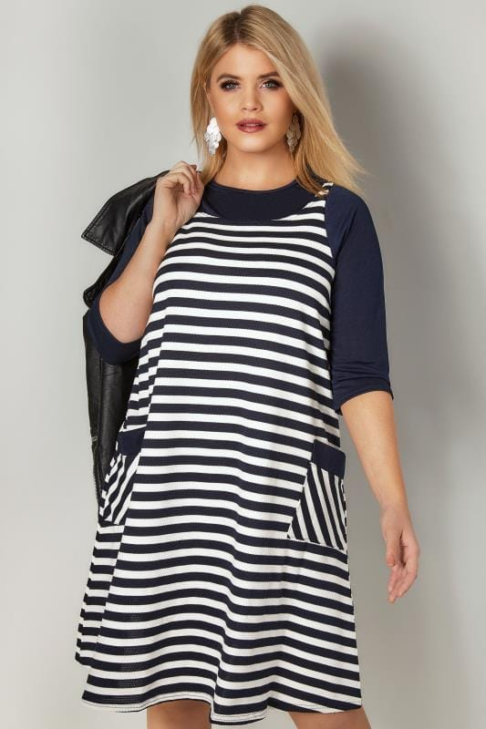 e372cfeb2b9 Navy & White Striped Tunic Dress With Pockets, plus size 16 to 32