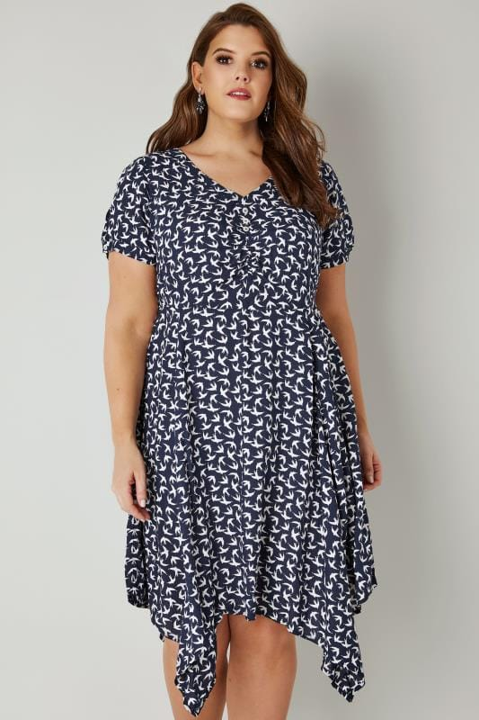 Navy & White Swallow Print Dress With Tie Waist & Hanky Hem