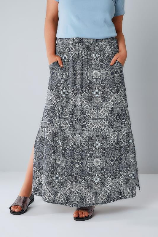 Maxi Skirts Navy & White Tapestry Print Pull On Maxi Skirt With Side Splits 160020