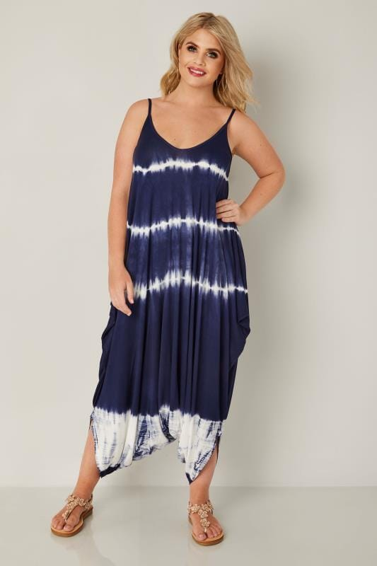 Plus Size Jumpsuits Navy & White Tie Dye Jersey Jumpsuit