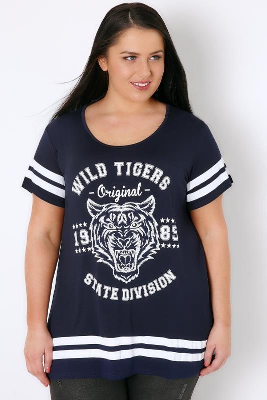 Navy & White Tiger Stripe Varsity T-Shirt