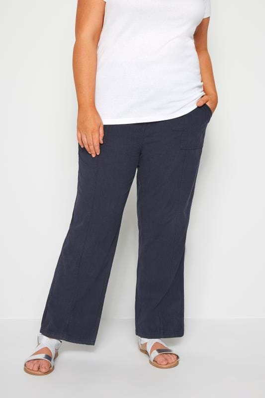 Plus Size Cotton Pants Navy Wide Leg Cotton Trousers
