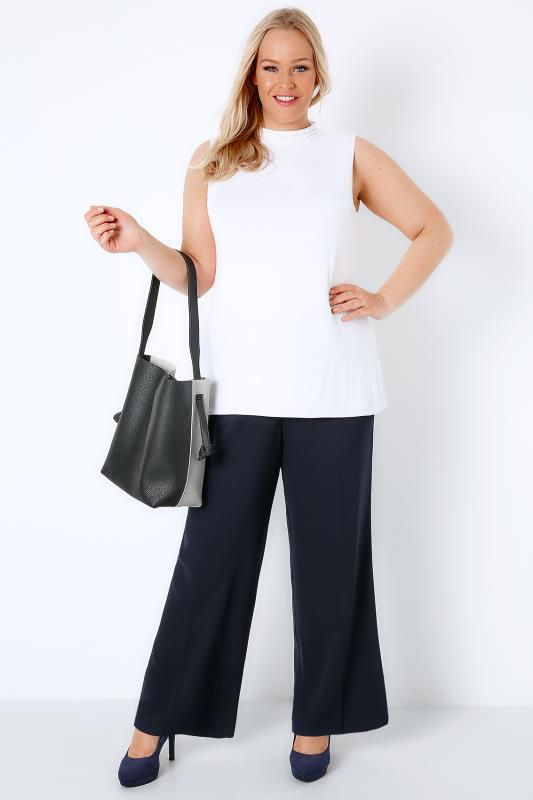Navy Wide Leg Smart Trousers With Elasticated Waist