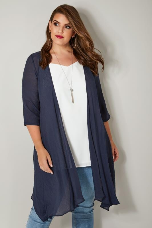 Plus Size Cardigans Navy Woven Cardigan With Waterfall Front