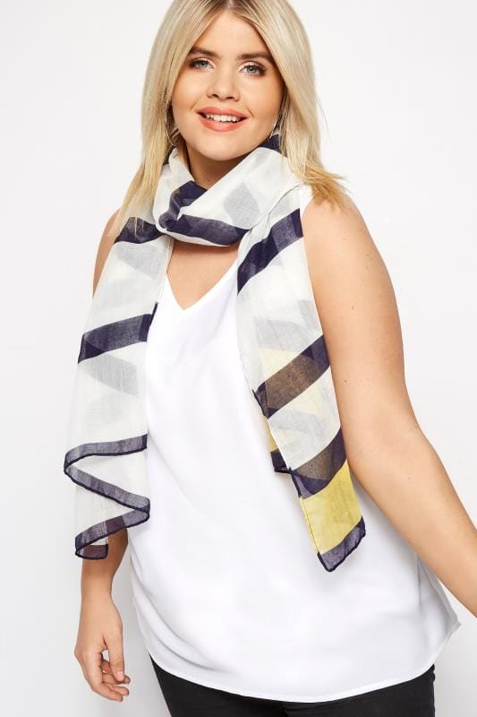 Plus Size Scarves Navy & Yellow Stripe Scarf