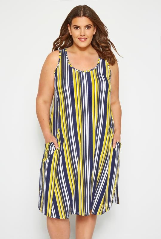 Navy & Yellow Striped Drape Pocket Dress