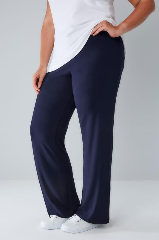 Joggers Navy Wide Leg Pull On Stretch Jersey Yoga Trousers 142022