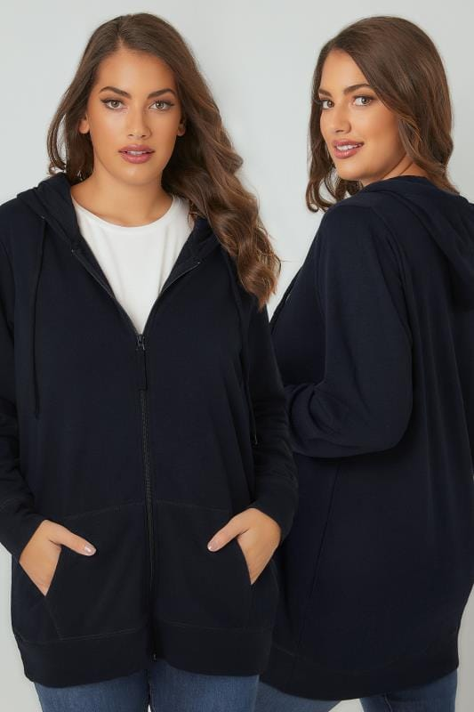 Plus Size Hoodies & Jackets Navy Zip Through Hoodie With Pockets