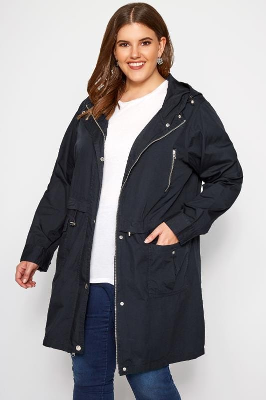Plus Size Jackets Navy Zip Through Jacket