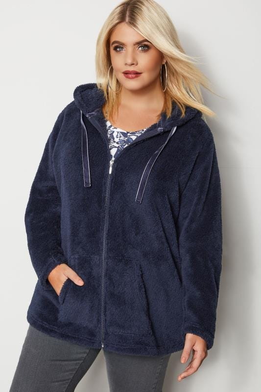 Plus Size Fleece Jackets Navy Zip Through Teddy Fleece