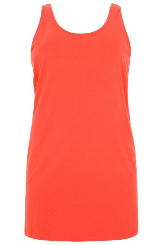 Neon Orange Cotton Vest Top
