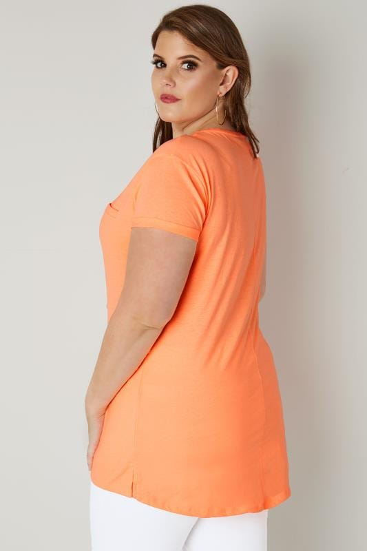 Neon Orange Mock Pocket T-Shirt With Curved Hem