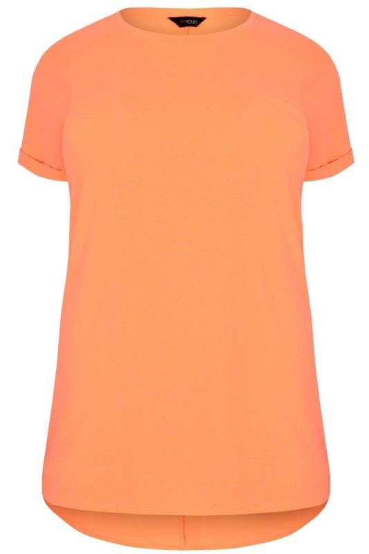 Jersey Tops Neon Orange Mock Pocket T-Shirt With Curved Hem 132624