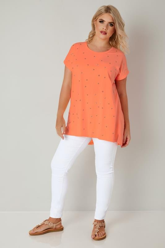 Neon Orange Star Studded Jersey T-Shirt With Curved Hem