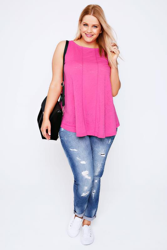 Neon Pink Burnout Vest Top With Stitch Detail & Curved Hem